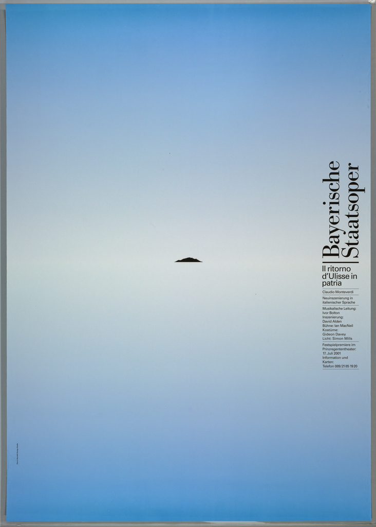 """Top half of poster is gradient from left to right, yellow to red. Bottom half of poster is black. In center, a yellow ring. Text at right in white down side reads: """"Bayerische Staatsoper/ Siegfried/ Richard Wagner """" with additional date and time information below."""