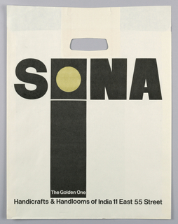 "White shopping bag with incised handles and printed black and gold text. Large black block letters ""SONA,"" the ""O"" represented with a black square containing a gold circle. Below the ""O,"" a vertical rectangle in the same width stretches to the bottom of the composition. Printed white text at bottom of rectangle, printed black text at bottom."