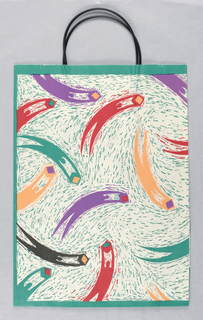 Green background, abstract drawing of flying figures in purple, red , orange, black