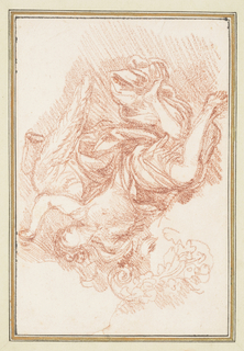 Winged figure floating and looking upwards. His left arm is raised and bent. The beginning of a sketch of a floral motif to the left.