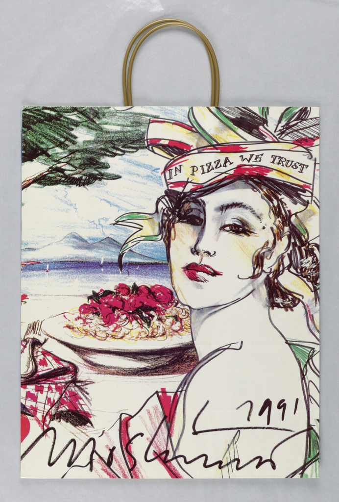 """Recto: Full color photo of woman with pasta. Verso: Drawing of woman with plate of pasta. Motto on headband on woman: """"In Pizza We Trust."""""""