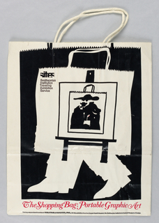 White bag with black drawing of shopping bag with legs pictured on another shopping bag image. Text in red.