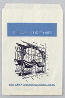 """Scribner's Book Stores, NY/Merchant's Square, Williamsburg"" on top; image of entrance to store in blue and black on white background."