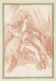 Drawing after one of Francesco Maratti's angels on the left transept wall under the cantoria in the Church of the Gesù. Figure has wavy hair and legs extended to the side. Figure points ahead with right hand. A sketch of the sun is on the right side.