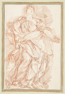 Drawing after statue by Giuseppe Lironi of Hope, located in the loggia at St. Peter's. The statue is of a standing figure in long, flowing robes holding a scepter in the right hand and a small object in the right. Body is angled to the left, including right knee which is bent in that direction.