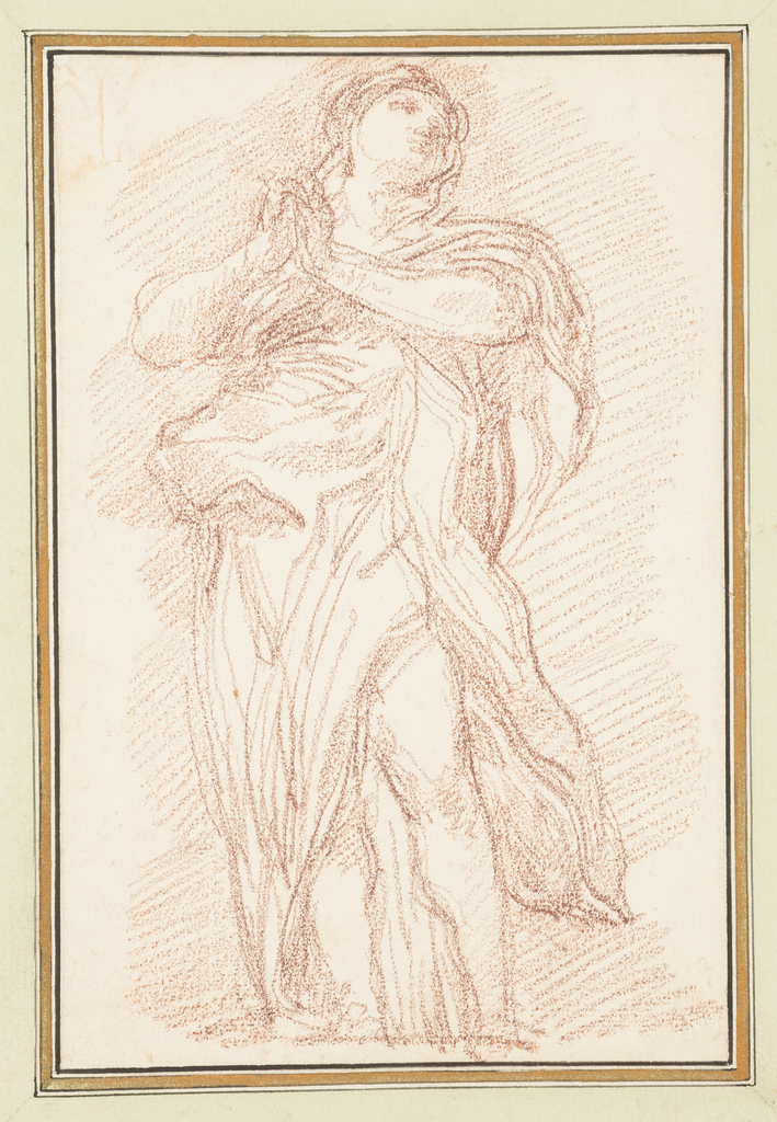 Drawing after statue by Lazzaro Morelli of St. Mary of Egypt (S. Maria Egiziaca), located on the North Colonnade of St. Peter's. She raises and clasps her hands in front of her and looks to her left.