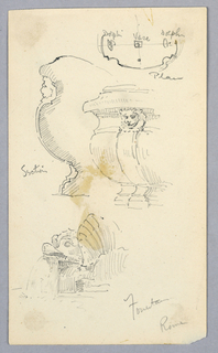 Upper right, the plan. Center, profile and base of vase, both have lion face on neck; spout in the shape of a fish, with water coming out of mouth.