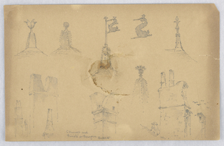Nine or ten sketches of chimneys and finials.