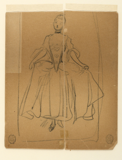 Sketch of a woman dressed in the style of about 1760, holding out voluminous skirt in her hands.