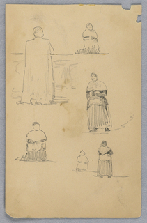 Man in robe praying, sketched from different angles, some kneeling some standing