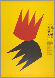 Yellow poster with silhouettes of crowns in center, one red and one black.