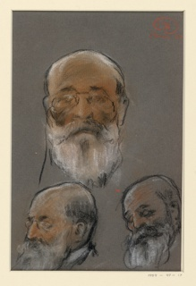 Three studies of the head of an elderly man with a white beard and pince-nez glasses.