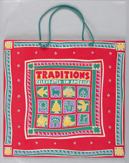Traditions Celebrate in America; Christmas motifs on glossy red background.