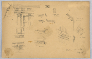 Many small sketches of details, turrets, mullion and architectural plans.