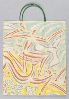 Summer bag: pale yellow background with fish jumping into pool and running landscape.