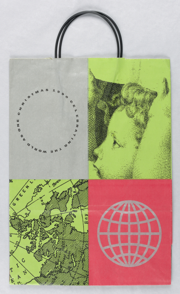 Celebrating the World as One: Quadrants in silver, red, and green contain text, portion of a map, stylized globe, and angle head. Left side panel displays text on one-world theme.
