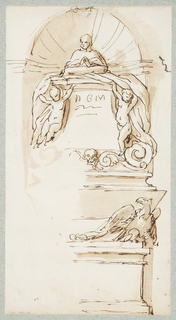 Vertical rectangle. A tomb monument within a niche consisting of a bust on a high socle flanked by putti holding up draperies. Below, the sarcophagus at the base of which sits an eagle.   One sheet of paper drawn on recto and verso, mounted onto an album page with window cutout to see verso.