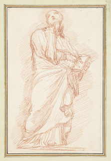 Drawing after statue by Giovanni Maria de Rossi of St. Ignatius Loyola on the Northeast Colonnade. Standing robed figure holds a book in his left hand and points to it with his right, but looks upward and to the right.