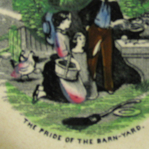 "A and B, with flat marly bearing the alphabet in relief and rope moulding on rim.  B) of ""The Pride of the Barnyard""--three children admiring a rooster."