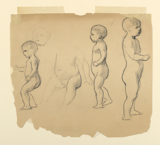 Three studies of standing figures for cherubs, with a fourth partial figure and study of head.