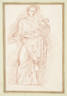 Standing figure in robes with a tie around his waist. His left arm is bent at the elbow and his hand is by his chest. He extends his right hand and holds something in it.