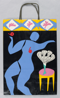 "Recto: Matisse-style blue cutout figure on black. End table with plant on right side. Yellow, blue, pink, and white border along top. Verso: Blue cutout figure seated with apple falling from head on white background. ""1982"" vertically along left side.  Yellow pattern against blue background on left edge. Side panel: green leaves on pink background."