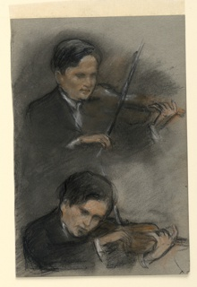 Two quarter-length studies of a young man playing the violin, facing one-quarter to the right.