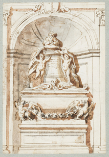 Vertical rectangle.   Recto: A tomb monument within a niche consisting of a male bust on a high base flanked by putti holding draperies. below, a sarcophagus flanked by eagles with a garland suspended between them, possibly inspired by the tomb of Cardinal Priuli in S. Marco, Rome.   Verso: Joseph leads Mary, holding the Christ Child, followed by the ass and two putti. A vertical line divides the scene from a standing Madonna and Child.   One sheet of paper drawn on recto and verso, mounted onto an album page with window cutout to see verso.