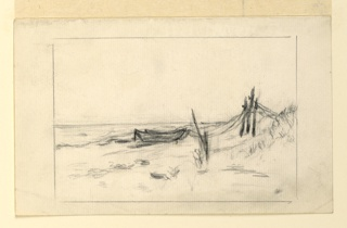 A beach, with dunes at right, and two row boats drawn up and moored to posts. Grasses in the foreground.
