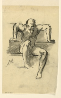 Seated nude. Elderly male figure seen frontally, resting both his hands on the arms of the chair as if in anticipation of rising.
