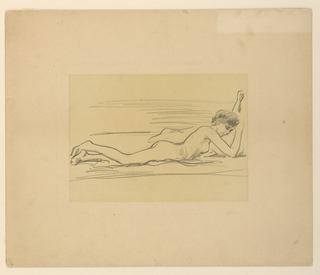 Nude female figure lying front downward, resting head on right hand, with left arm raised.