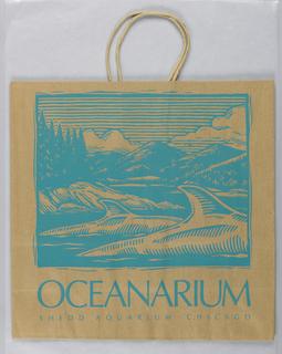 Oceanarium.  Woodblock print in turquose blue on brown paper.
