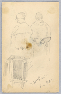 Drawing, Two Sketches of a Cardinal, and a Confessional