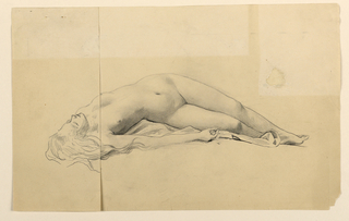 Nude female figure lying on back, head to left of composition and seen in foreshortening, with right arm brought across in front of body. Above, paper pasted to drawing, with sketch of head in less foreshortened position.