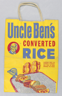 """Uncle Ben's CONVERTED RICE/CONTAINS TWICE THE VITAMINS OF ORDINARY RICE/ GIVE 23% MORE SERVING PER POUND"" in blue and red on yellow background."