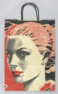 Bag for Bloomingdale's department store. Recto features abstracted black and red background with closeup three-quarter view of a woman's face in black and white, with bright red lips and hair pulled back, facing left. Verso features different black and red abstracted background with closeup three-quarter view of man's face in black and white, facing right.