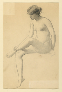 Seated nude female figure, turned toward left; left ankle resting on right knee, right hand resting on left ankle.