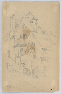 Sketch of a street scene. A wheel-barrow and two women by a doorway, houses with chimneys behind.