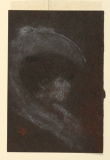 Bust portrait of a woman seen in right profile wearing a large hat. Drawing rendered impressionistically.