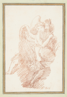 Winged figure holding bow. Figure looks down and to the side, and holds a bow(?) with both hands. An unattached leg is in the background on the left side.
