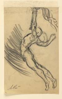 A male figure, seen in left profile, leaps in the air, his arms raised over his head, a torch in his left hand.