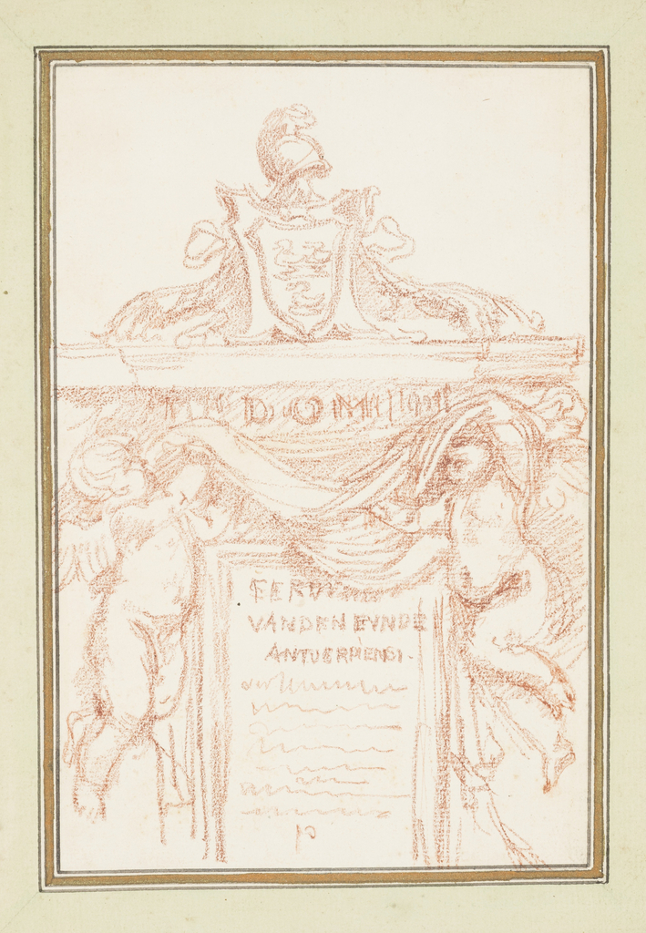Drawing after François Duquesnoy's Monument to Ferdinand can den Eynde in S. Maria dell'Anima. The monument features an epitaph in a rectangular frame, flanked by two putti holding a large cloth. All this is part of a larger structure that is topped by an escutcheon and a helmet.