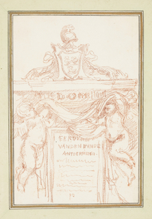 Drawing after François Duquesnoy's tomb of Ferdinand van den Eynde (ca. 1633 - 1640) in S. Maria dell'Anima. The monument features an epitaph in a rectangular frame, flanked by two putti holding a large cloth. Above, an escutcheon and helmet.