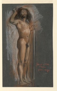 A standing male nude, turned one-quarter to the right, with long hair and a beard. He holds a staff in his left hand; right hand raised to his head.