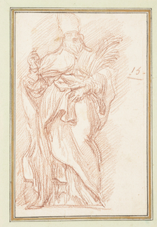 Drawing after statue by Antonio Gabbani of St. Julian of Antinoe on the North Colonnade of St. Peter's.  St. Julian wears bishop's vestments, despite not holding that office. He holds up his right hand and holds the palm of martyrdom with his left arm and hand.