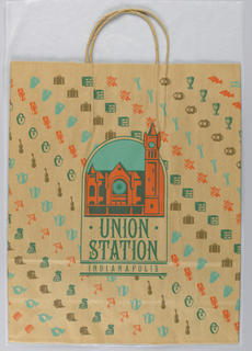 Orange image of station at center, diagonal rows of motifs; brown paper.