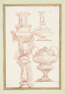 Upper left: pedestal. Lower left: baluster. Urns on the right side. There is no space between the pedestal and baluster.