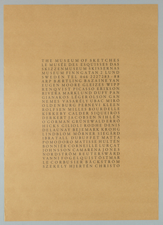 Black text in goudy font, all caps, in center of sheet giving date, time and title of an exhibition of K.G. Olsson's work.  The text is arranged in vertical columns that suggest Japanese caligraphy paintings.  The two red stampes at lower right below text reinforces the Japanese influence.