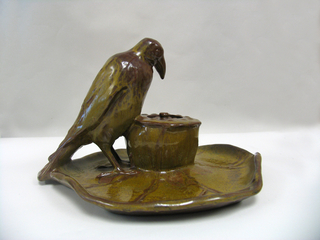 Rookwood inkwell with figure of rook, (2 parts)