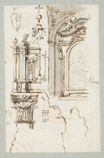 Recto: Vertical rectangle. Top left, corner of a sarcophagus; below, an altar conceived as an a piece of Baroque architecture. At right, the partial elevation of a small chapel with sculptured frame surrounding an altar painting. Below a composite capital and two profiles of cornices and one of a base, developed into Suite VIII, plate 5 and Suite IX, plate 3.   Verso: Horizontal rectangle. Stage designs: a vaulted gallery and a grotto. Figures shown in both sets. A vertical line divides the two scenes.  One sheet of paper drawn on recto and verso, mounted onto an album page with window cutout to see verso.